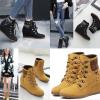 รองเท้าบูทส้นเตารีดสีเหลือง/ดำ ไซต์ 35-40