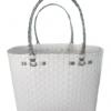 ตะกร้าสานพลาสติก กระเป๋าสานพลาสติก ATS - สายเงิน กว้าง 14 cm. ยาว 32 cm. สูง 20 cm.