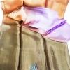 ผ้าพันคอผ้าไหม แบบ 2 สีน้ำตาลไล่เฉดสีส้มและม่วง