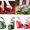 รองเท้าส้นเตารีดส้นแบบเก๋สีแดง/เขียว ไซต์ 35-40