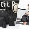 J06-กระเป๋าเซต 4 ใบหนัง PU สีดำ