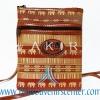 ของฝากจากไทย กระเป๋าสะพายลายช้างสายหนัง แบบ 11 สีน้ำตาล