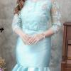 (Size M,L,XL ) ชุดไปงานแต่งงาน ชุดไปงานแต่งสีเขียวมิ้นท์ เดรสผ้าไหมแขนสามส่วน แต่งด้วยลูกไม้ออแกนดี้อย่างดีทั้งตัวผ้าสั่งทำพิเศษ มีดีเทลที่ชายปลายกระโปรงแต่งระบาย