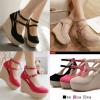 รองเท้าส้นเตารีด ไซต์ 34-39 สีดำ/ครีม/ชมพู