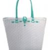 ตะกร้าสานพลาสติก กระเป๋าสานพลาสติก AU - สายเขียวมิ้นต์ กว้าง 10 cm. ยาว 36cm. สูง 32 cm.