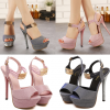 รองเท้าส้นสูงสีชมพู/เทา ไซต์ 34-39