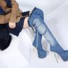 รองเท้าบูทส้นสูงยีนส์ยาวหุ้มหัวเข่า ไซต์ 34-40