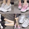 รองเท้าผ้าใบเสริมส้นสีชมพู/ขาว/ดำ ไซต์ 35-39