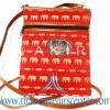 ของฝากจากไทย กระเป๋าสะพายลายช้างสายหนัง แบบ 2 สีแดง