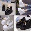 รองเท้าส้นเตารีดแบบหุ้มส้นสีดำ/ขาว ไซต์ 35-39