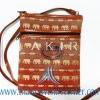 ของฝากจากไทย กระเป๋าสะพายลายช้างสายหนัง แบบ 5 สีน้ำตาลทอง