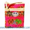 ของฝากจากไทย กระเป๋าสะพายลายช้างผ้าถุงสายหนัง แบบ 7 สีชมพู