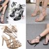 รองเท้าส้นสูงสายคาดติดคริสตัลสีน้ำตาล/ดำ ไซต์ 35-40