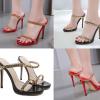 รองเท้าส้นสูงแบบสวมเย็บโซ่ติดด้วยเส้นเอ็นใสสีแดง/ดำ ไซต์ 35-40
