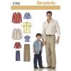 แพทเทิร์นตัดเสื้อเชิ้ต และกางเกงชาย-เด็กชาย Simplicity (4760) ไซส์เด็กชาย S-M-L ไซส์ผู้ใหญ่ S-M-L-XL