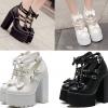 รองเท้าส้นสูงส้นหนาสีดำ/ขาว ไซต์ 34-39