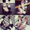 รองเท้าส้นสูง ไซต์ 35-39 สีดำ สีชมพู