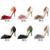 รองเท้าส้นสูงไซต์ 34-39 สีเขียว สีแดง สีดำ สีชมพู สีเงิน สีทอง