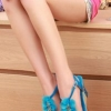 รองเท้าประดับดอกไม้ สีฟ้าสดใส กันน้ำ สวยมาก ๆ