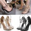 รองเท้าส้นสูงพลาสติกใสโชว์ผิวเท้าสายรัดแบบโซ่สีทอง/ดำ ไซต์ 35-40