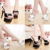 รองเท้าส้นสูงส้นเข็มแบบสวมสีขาว/ดำ ไซต์ 34-38