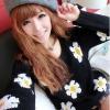 เสื้อสเวตเตอร์เกาหลี คอกลม แขนยาว ทอลายดอกไม้ daisy