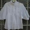 (หมดแล้วจ้า!!) เสื้อแฟชั่นสีขาว แขนพอง ผ้า cotton คอจีนติดระบายเล็กๆ น่ารัก