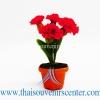 ของขวัญไทย ดอกไม้จิ๋วดินปั้น ดอกคาเนชั่น สีแดง