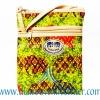 ของฝากจากไทย กระเป๋าสะพายลายช้างผ้าถุงสายหนัง แบบ 4 สีเขียวอ่อน