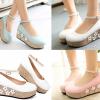 รองเท้าส้นหนาน่ารักๆสีชมพู/ฟ้า/ขาว ไซต์ 34-39