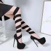 รองเท้าส้นสูงสายพันรอบขาสีดำ ไซต์ 34-40