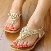 รองเท้ารัดส้นแต่งกะโหลกสีทอง แบรนด์ เกาหลี สุดฮอต