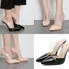 รองเท้าส้นสูงปลายปหลมแบบสวมสีดำ/นู๊ด ไซต์ 35-40