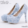 รองเท้าเจ้าสาว ไซต์ 34-39 สีฟ้า สีม่วง ความสูง 10-14 CM