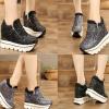 รองเท้าผ้าใบเสริมส้นสีดำ/เทา ไซต์ 35-39