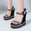 รองเท้าส้นเตารีดสูง 6 นิ้วสีดำ ไซต์ 35-40