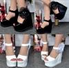 รองเท้าส้นเตารีด ไซต์ 34-38 สีดำ สีขาว (รองเท้าส้นตึก)