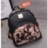 J05-กระเป๋าเป้สะพายหลังสบายหมุดแดฟโฟดิแพ็คเก็ต สีดำดอกกุหลาบ