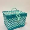 ตะกร้าสานพลาสติก กระเป๋าสานพลาสติก PY ฟ้า กว้าง 18 cm. ยาว 22 cm. สูง 14 cm.