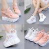 รองเท้าผ้าใบเสริมส้นสีชมพู/ขาว ไซต์ 34-39