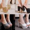 รองเท้าส้นสูงกากเพชรหรูสีทอง/เงิน/ดำ/ขาว ไซต์ 34-39