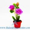 ของขวัญไทย ดอกไม้จิ๋วดินปั้น ดอกกุหลาบสีม่วง