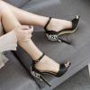 รองเท้าส้นสูงแต่งคริสตัลด้านหลังสีดำ ไซต์ 35-40