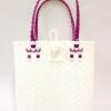 ตะกร้าสานพลาสติก กระเป๋าสานพลาสติก AU - สายม่วง กว้าง 10 cm. ยาว 36cm. สูง 32 cm.