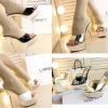 รองเท้าส้นสูงส้นแก้วแบบสวมสีขาว/ดำ/ทอง ไซต์ 34-38