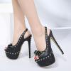 รองเท้าส้นสูงหนังสีดำ ไซต์ 35-40