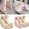 รองเท้าส้นเตารีดแต่งดอกไม้ที่ส้นสีชมพู/ขาว/ครีม ไซต์ 34-39