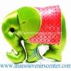 ตุ๊กตาช้างผ้าไหม แบบ 41 หมอนช้าง size M สีเขียวแดง