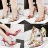 รองเท้าส้นสูงลายดอกไม้สีขาว/ทอง/ชมพู ไซต์ 34-39