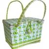 ตะกร้าสานพลาสติก กระเป๋าสานพลาสติก  ฝาปิดจิ๋ว โทนเขียว กว้าง 17 cm. ยาว 24 cm. สูง 18 cm.